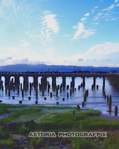 SM-161, pilings, trestle, marsh, mountain, blue sky, columbia river, astoria, oregon