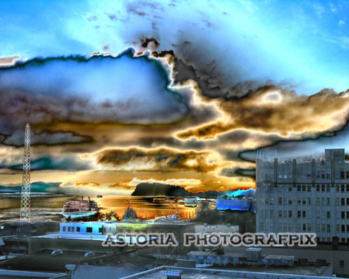 SM-209, astoria, oregon, dawn, columbia river, tongue point, astor hotel,clouds