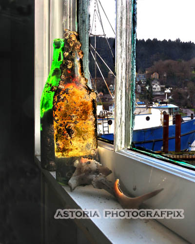 SM-232, astoria, oregon, pier 39, bottles, barnacles, glass, window, window sill