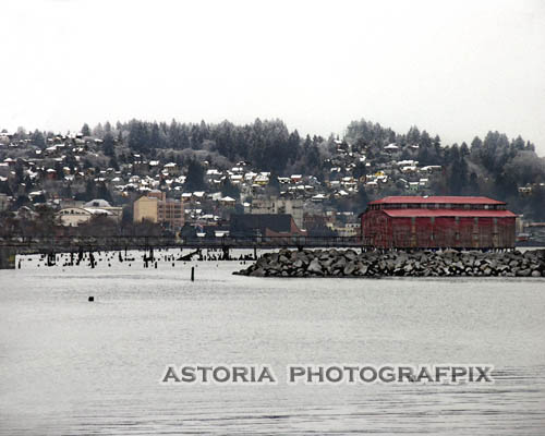 SM-279, snow, hillside, astoria, oregon, net loft, big red, columbia river