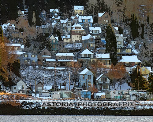 SM-328, east astoria, hillside, winter, snow, houses, oregon