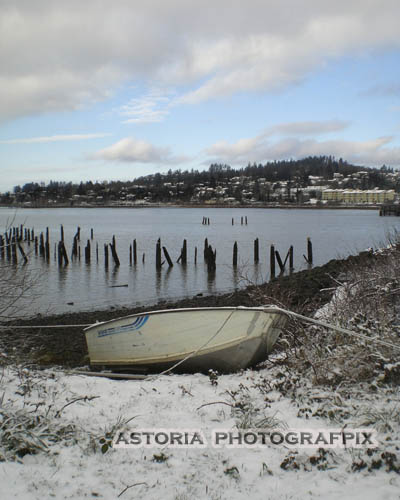 SM-397, Astoria Photografpix, boat, rowboat, youngs bay, hillside, winter, snow, oregon