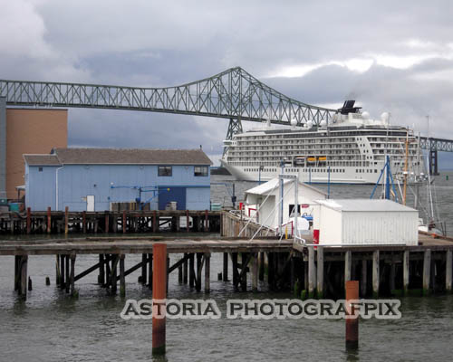 SM-408, Astoria Photografpix, cruise, ship, liner, waterfront, oregon, columbia, river, bridge, pier, dock