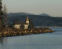 Astoria Photografpix, Grey Church across the River, Megler, WA, SM-311