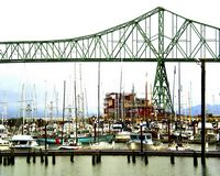 SM-390, Astoria Photografpix, west basin, cannery, pier, hotel, mooring, bridge, boats, ships, fishing, oregon, waterfront
