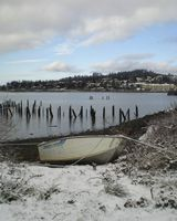 SM-397, Astoria Photografpix, snowy, boat, youngs bay, orgegon, rowboat, hillside, winter
